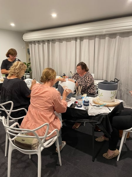 Cathy - Gray - Inkwork - pots - paint - pinot - Workshop - Adelaide - Hills